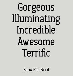Faux Pas Serif font sample