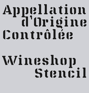 Wineshop Stencil font sample